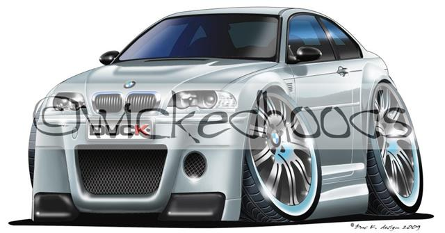 WickedKarz Cartoon Car BMW 3 Series E46 M3 Coupe in Silver Stylish Key Ring