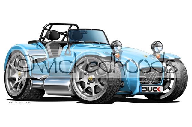 WickedKarz Cartoon Car Caterham Lotus Super 7 in Blue Stylish Key Ring