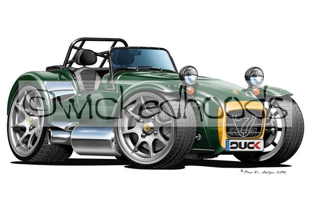 RetroArtz Cartoon Car Caterham Westfield Super 7 Green//Yellow Classic Key Ring