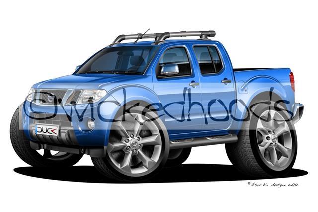 WickedKarz Cartoon Car Ford Ranger Pick Up Truck in Blue Stylish Key Ring