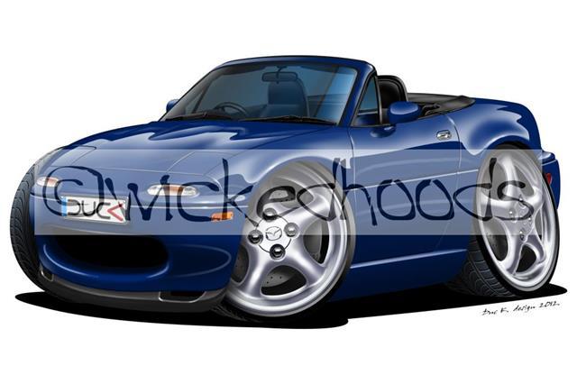 RetroArtz Cartoon Car Lotus Elise MK1 in Blue Premium Metal Key Ring