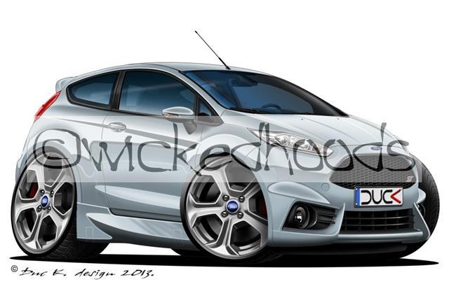 WickedHoods Cartoon Car Hoodie Ford Fiesta MK6 Zetec S Sweatshirt