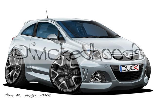 Vauxhall Corsa C SRi Caricature Car Art Print