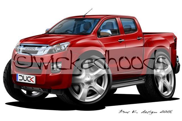 WickedKarz Cartoon Car Isuzu D-Max Pick Up Truck in Burgundy Stylish Key Ring
