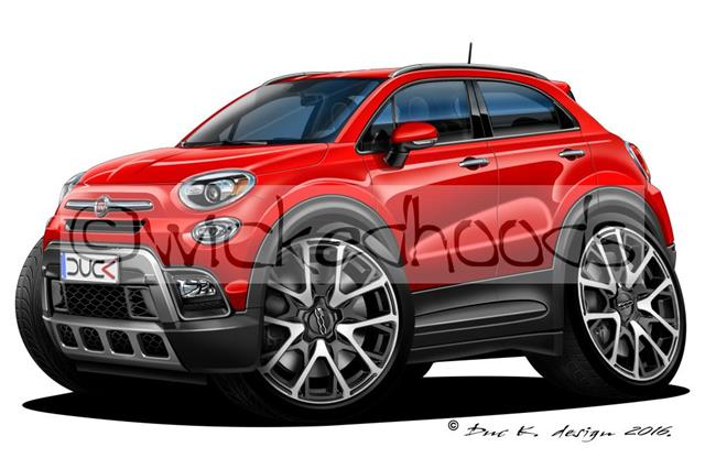 wickedhoods cartoon car fiat 500x funky crossover mini suv. Black Bedroom Furniture Sets. Home Design Ideas