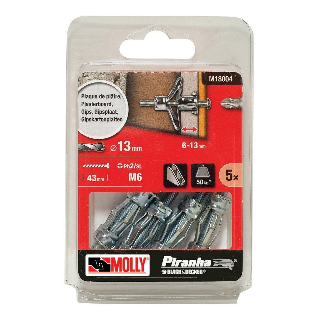 20 Black /& Decker Molly Plasterboard fixings M4 X 33mm