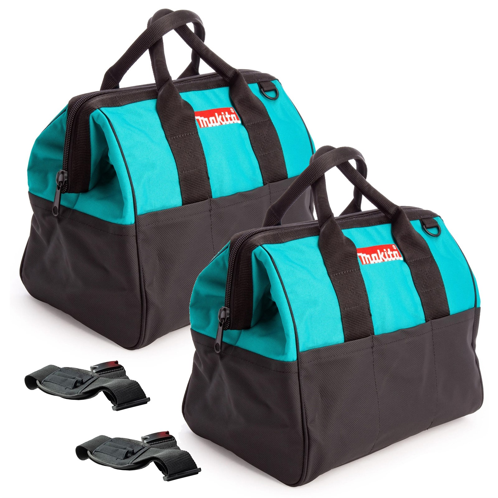 "Makita Tradesmans Holdall Tool Bag 17/"" 43cm Red Black Pockets Shoulder Strap"