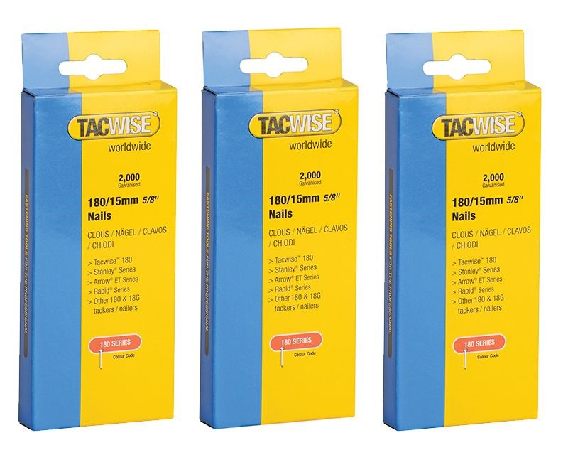 Tacwise 0359 3 x Packs of 2000 180 18 Gauge 15mm Nails Brads