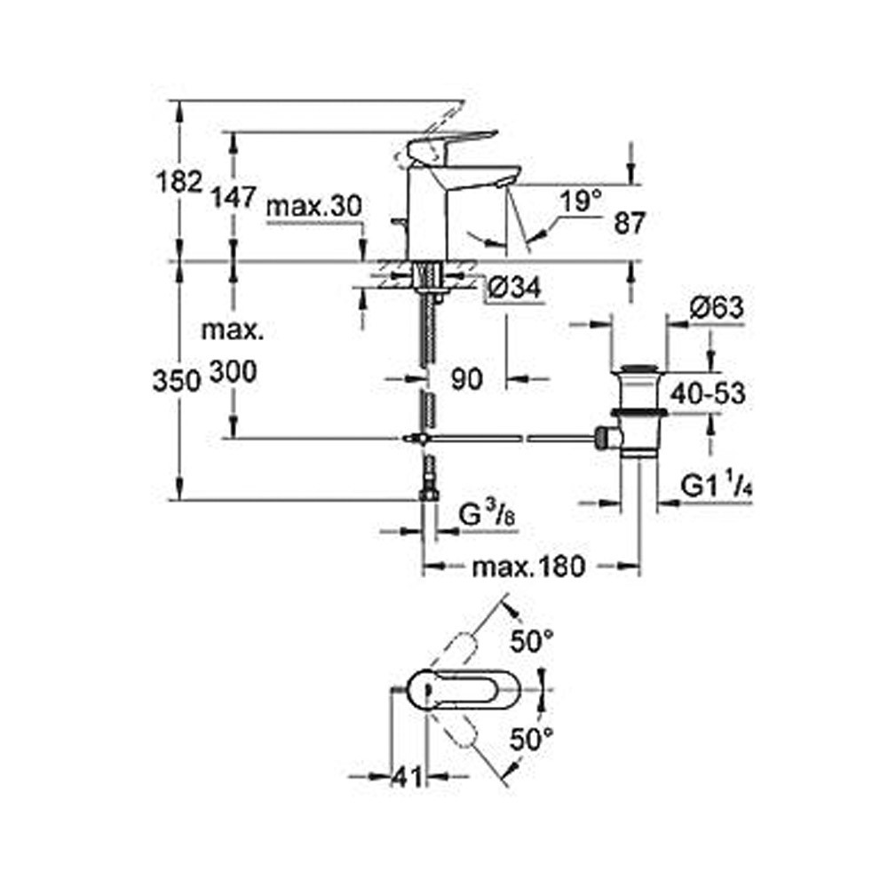 grohe 23356 bauedge single lever mono basin mixer tap 1  2