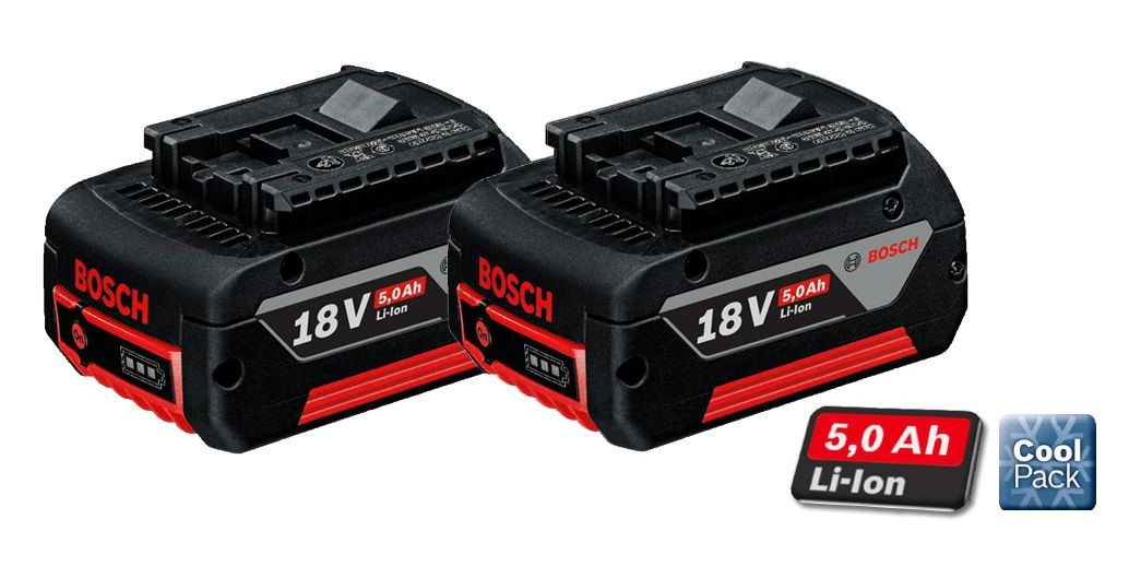2 x bosch 18v 5ah li ion coolpack batteries lithium ion. Black Bedroom Furniture Sets. Home Design Ideas