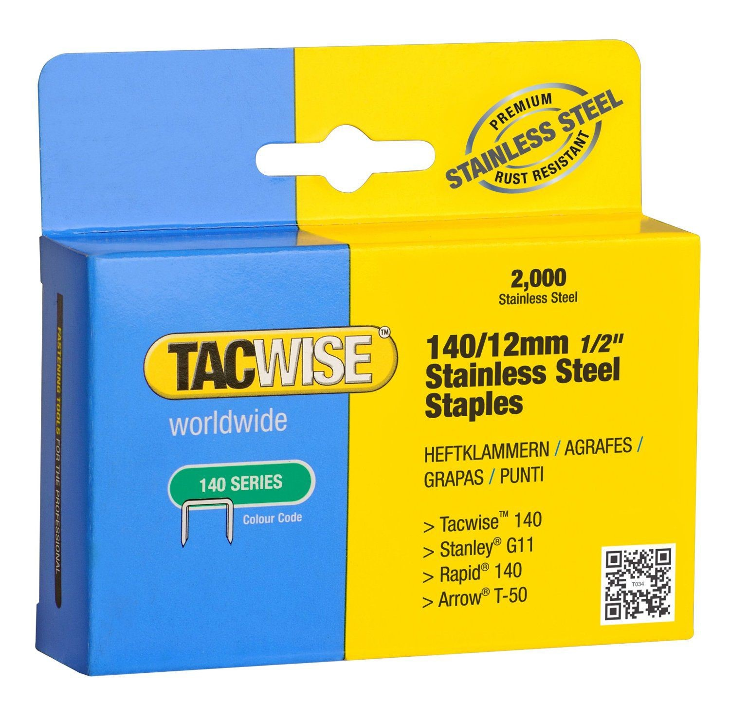 STANLEY 1-TRA708T 5000 5x1000 Pack Heavy Duty Staples 12 mm Sharpshooter Type G