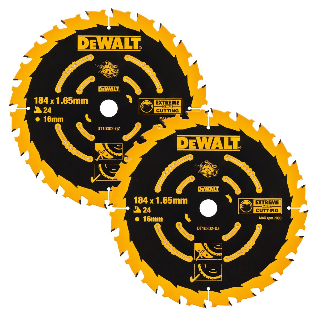 Dewalt DT10302 2 x Circular Saw Blades 184 x 16 x 24T Extreme Framing DWE560