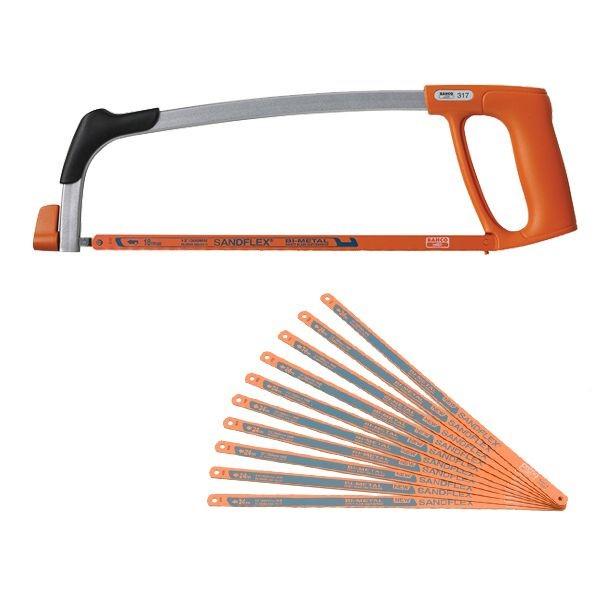 Bahco 317 Sandflex Bi-Metal Hacksaw Frame With 10 x 300mm 24tpi Blades BAH317