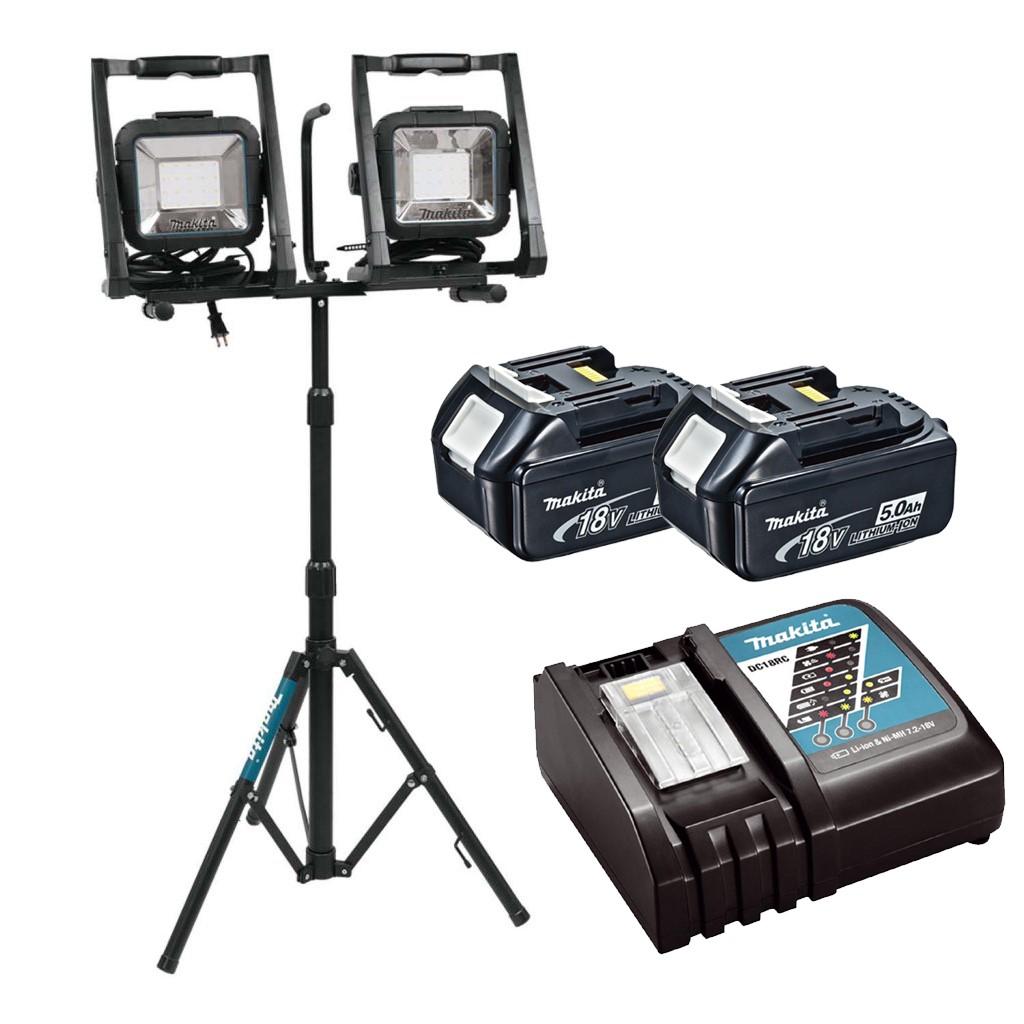trépied Makita DML805 18 V 110 V LXT DEL Travail Lumière Site Light Twin Pack