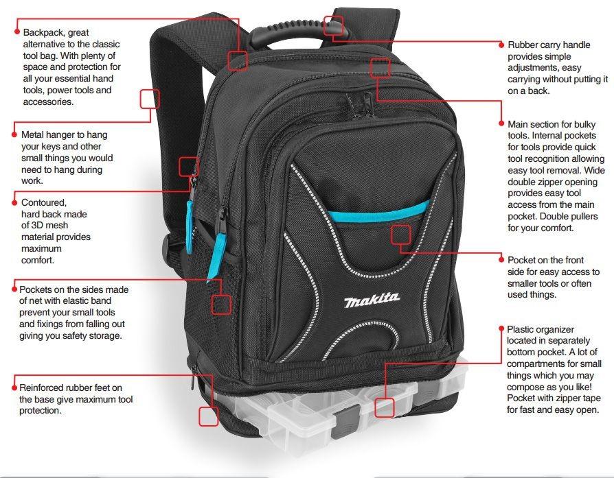 Bolsa de herramientas de Makita profesional herramienta mochila morral  Cartuchera + organizador P-72017 a0e0bc0efc36