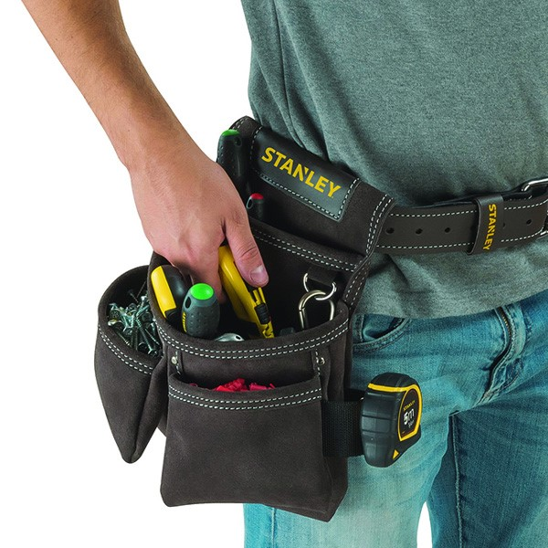 Stanley STA180116 Leather Double Pouch Nail Screw Tool Pouch STST1-80116