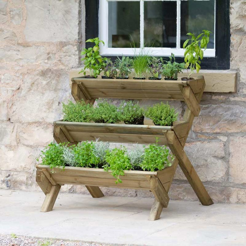 ce4222f97e5f Details about Zest 4 Leisure 3 Tier Stepped Herb Stand Wooden Planter Garden  Layered Planter