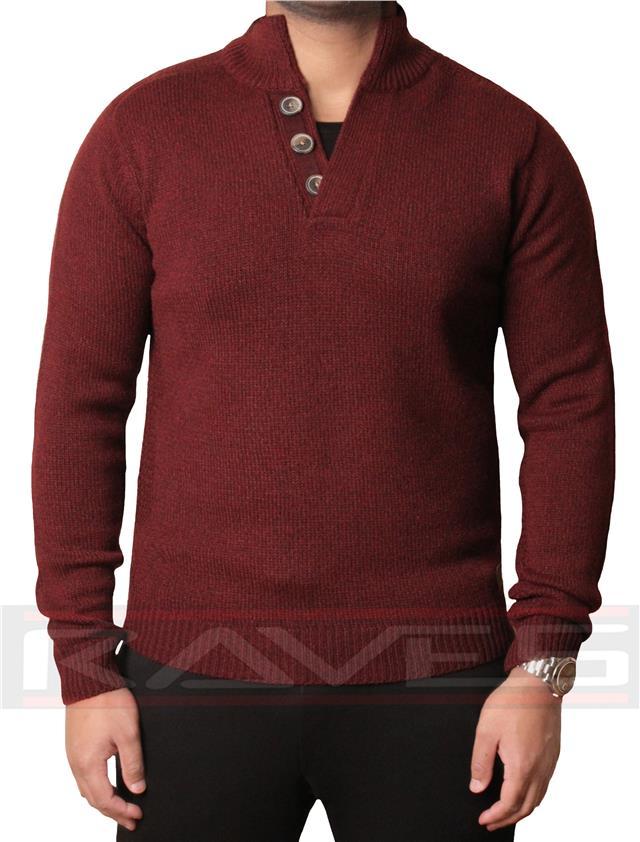 Threadbare Mens Funnel Neck Jumper Knitwear Sweater Pullover Button CONINGSBY