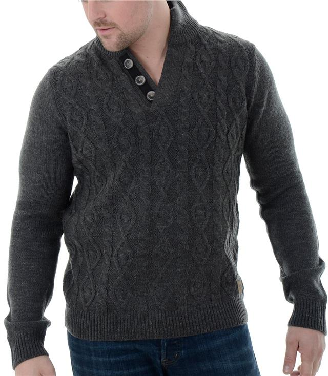 Threadbare Mens Hayes 1//4 Zip Funnel Neck Jumper Cable Knit Pullover Sweater Top
