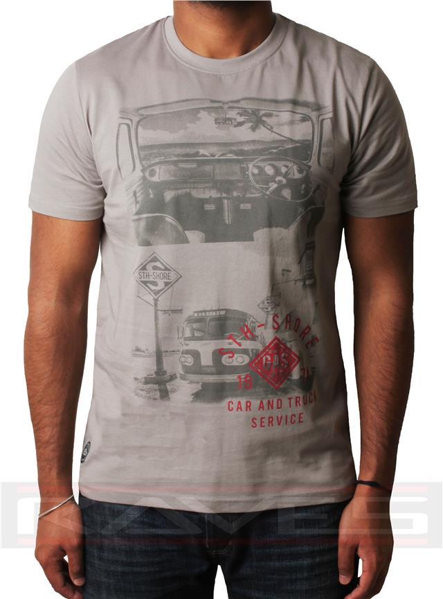 Men/'s graphic photo print t-shirt short sleeve cotton top South Shore 1C-4118