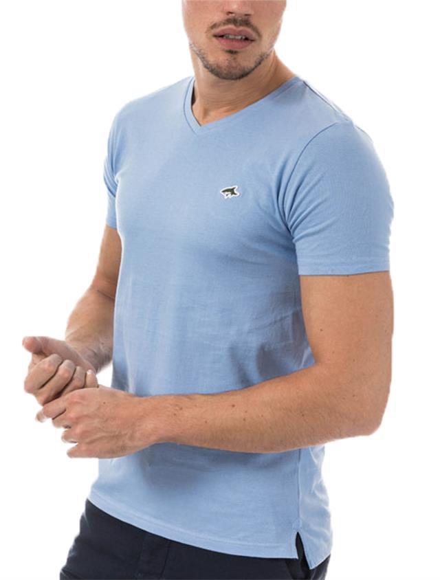 Mens Le Shark T-shirt Tee V-Neck Designer Fit Short Manche Cotton Top Kensal