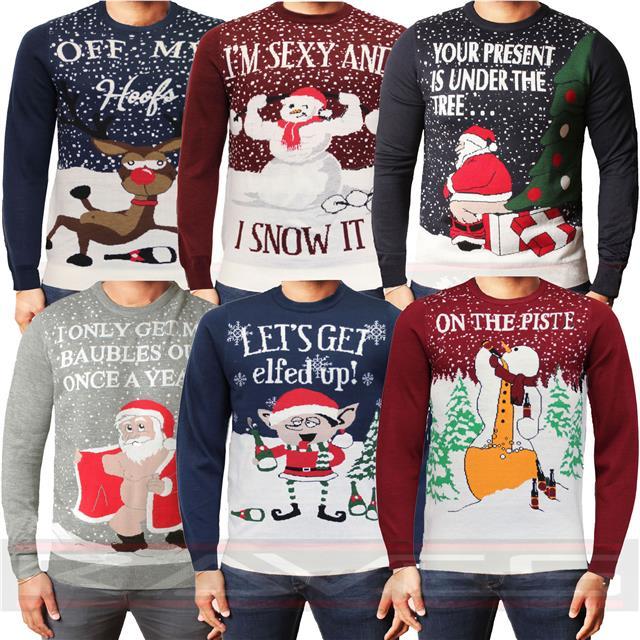 Mens Threadbare Christmas Jumper Xmas Novelty Funny Sweater Santa Elf Snowman
